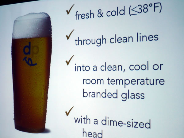 "\""How to serve draught beer\"" slide"
