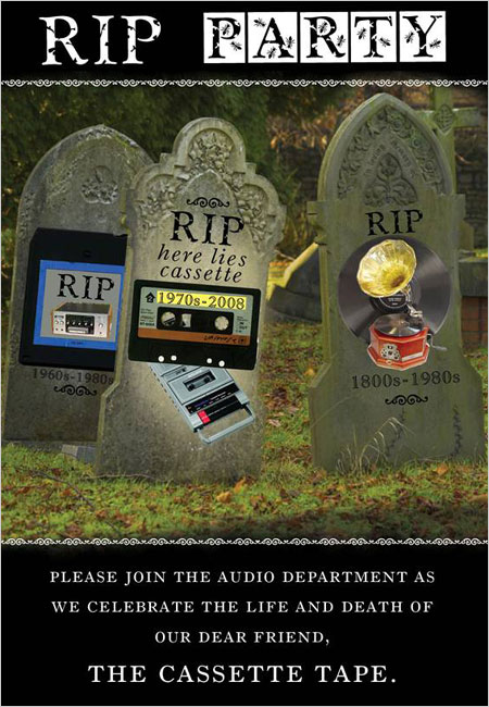 Hachette\'s invitation to a farewell party for the compact cassette