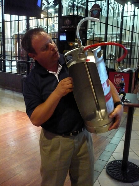 Showing the innards of a keg
