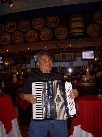 Joey deVilla playing accordion at Brew 2.0