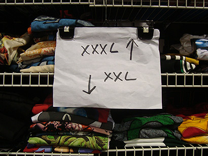 T-shirt sizes at San Diego ComicCon: XXL and XXXL