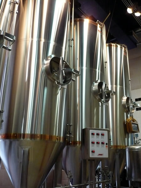 Silver tanks at the Air Canada Centre brewery