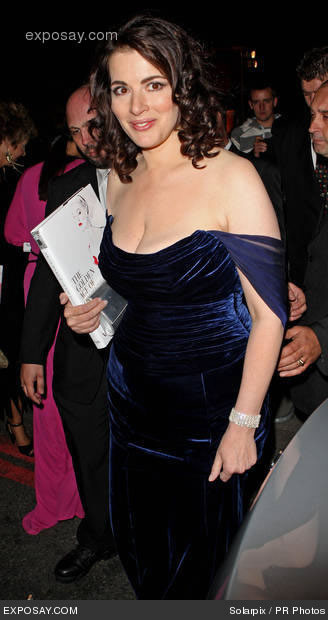 nigella lawson blue dress standing up Nigella Lawson in a blue dress at the Golden Age of Couture