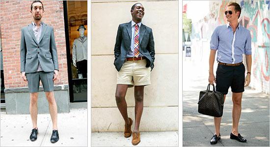 """Men displaying \""""officewear shorts\"""""""