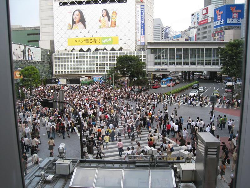 The scramble crossing in Shibuya, Tokyo, Japan.