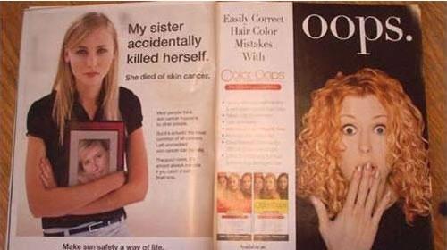 "Two ads on facing pages of a magazine -- the first's headline is ""My sister accidentally killed herself"", and the second's is ""Oops."""