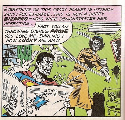 Bizarro Lois Lane throws dishes at Bizarro Superman