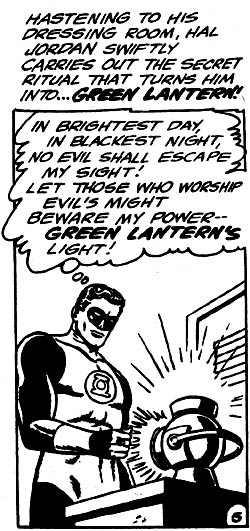 Green Lantern recites the Green Lantern Oath as he recharges his ring