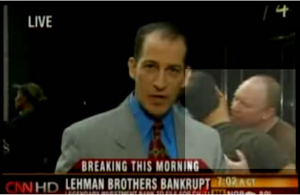 Sal and Richard from Howard Stern making out in front of Lehman Brothers on CNN