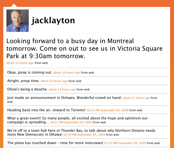 Screenshot of Jack Layton's Twitter page