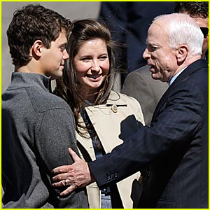 Levi Johnston meets John McCain as Bristol Palin looks on.