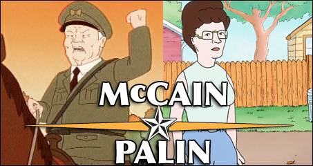 """McCain/Palin as Cotton Hill and Peggy Hill from """"King of the Hill"""""""