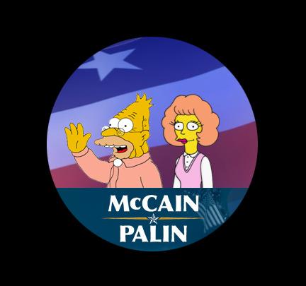 McCain/Palin as Abe Simpson and Maude Flanders
