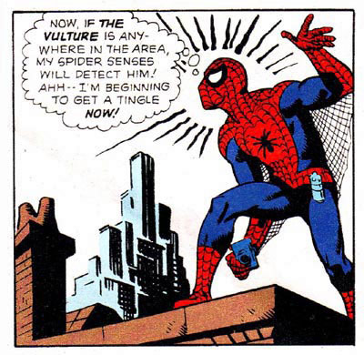 """Spider-Man"" comic panel featuring his Spider-Sense"