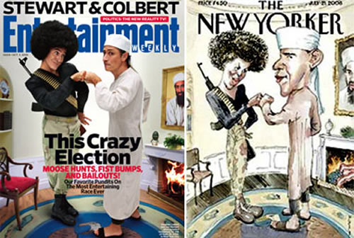 """""""Entertainment Weekly"""" cover featuring Stephen Colbert and Jon Stewart recreating the """"New Yorker"""" Obama cover"""