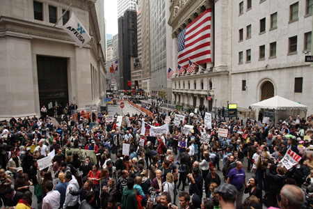 Bailout protest march on Wall Street