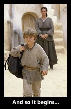 Anakin Skywalker leaves home as his mother, Shmi Skywalker, watches.