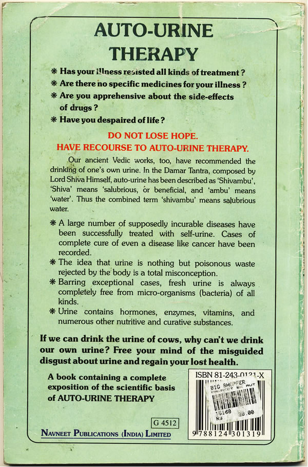 """Back cover of the book """"Auto-Urine Therapy"""""""