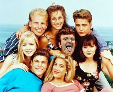 """Cast from the original """"90210"""" with Steve Ballmer's head on Luke Perry's body."""