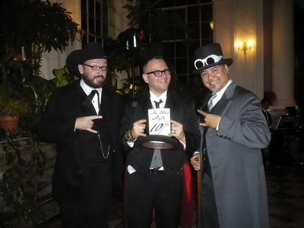 Danny O'Brien, Cory Doctorow and Joey deVilla at Cory's wedding