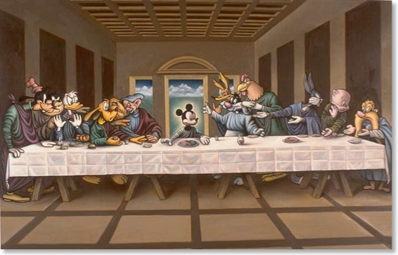 """The Last SUpper"" painting, but with Disney characters"