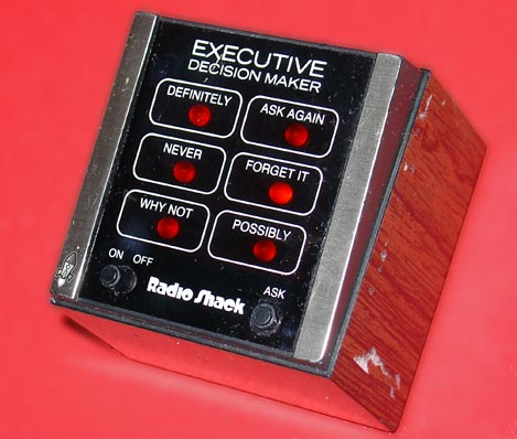 "Radio Shack's old ""Executive Decision Maker"" electronic toy"