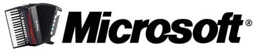 Microsoft logo with an accordion