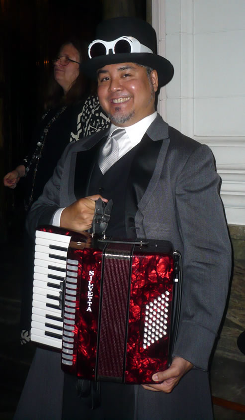 "Joey deVilla in his ""steampunk"" outfit with his new accordion"
