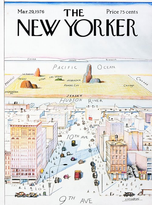 """The classic """"View from 9th Avenue"""" cover of the New Yorker"""