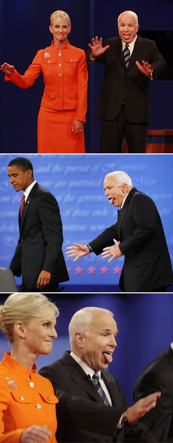 """Three photos at the debate where John McCain is sticking out his tongue """"Bill the Cat"""" style"""