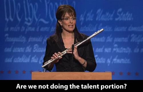 """Tina Fey as Sarah Palin in the SNL """"Palin-Biden Debate"""" skit"""