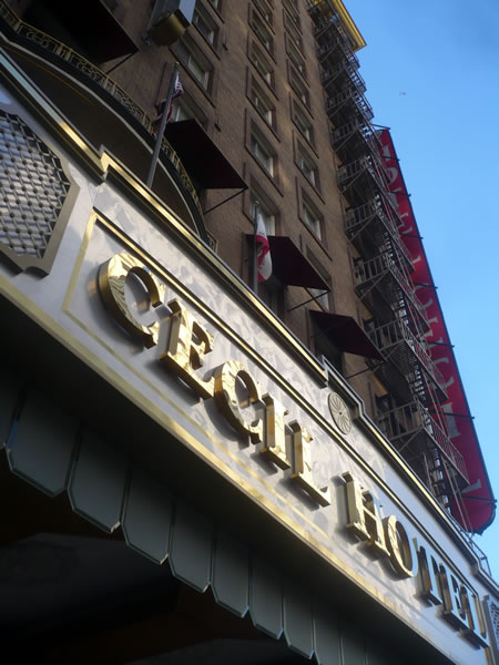 2. Exterior of the Hotel Cecil, showing its marquee sign