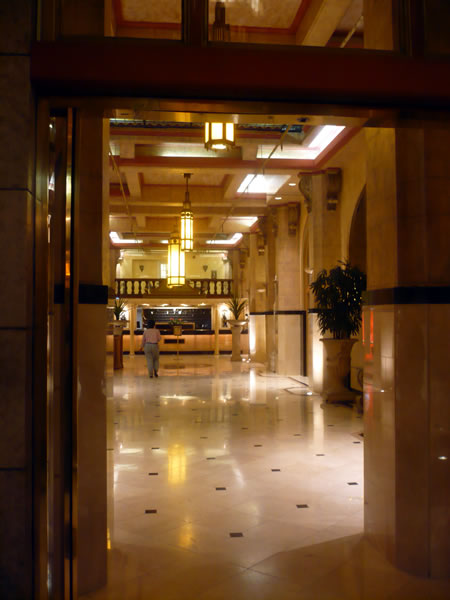 6. Hotel Cecil's marble lobby, looking in