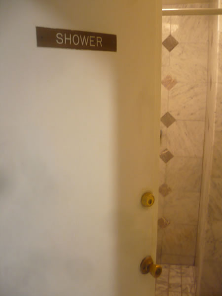 12. Hall shower at Hotel Cecil