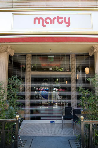 33. Exterior of Marty cafe at Hotel Cecil