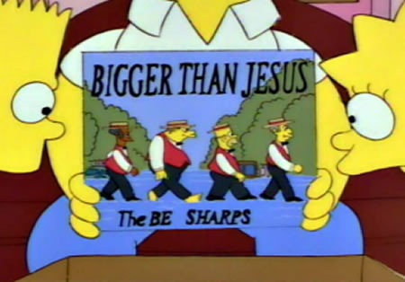 """Home Simpson shows Bart and Lisa the Be Sharps album """"Bigger Than Jesus"""""""
