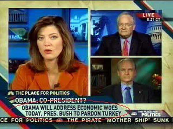 "Screenshot of MSNBC: ""Obama will address economic woes today, Bush to pardon turkey"""
