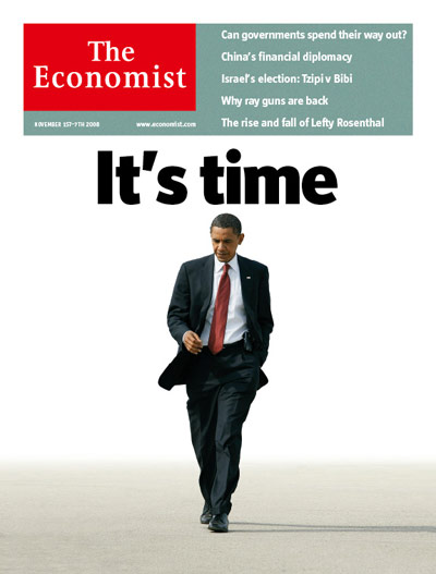 """The Economist cover featuring Obama: """"It's time"""""""