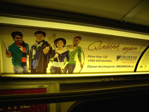 """Quidditch Anyone?"" subway ad for Dalhousie University"