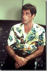 "Al Pacino as ""Tony Montana"" from ""Scarface"" in an aloha shirt"