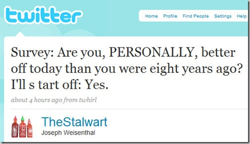 "Twitter screenshot: ""Are you, PERSONALLY, better off today than you were eight years ago? I'll start off: Yes."""