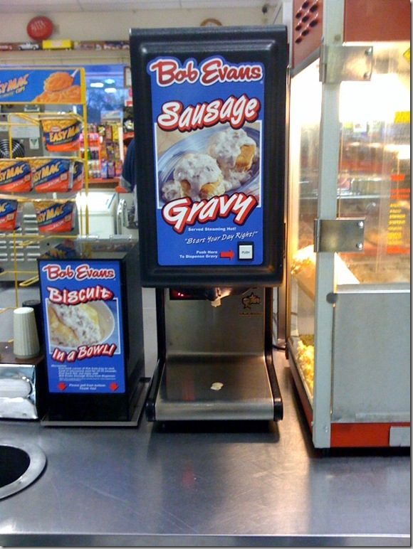 Food counter at a convenience store with Bob Evans sausage gravy dispenser