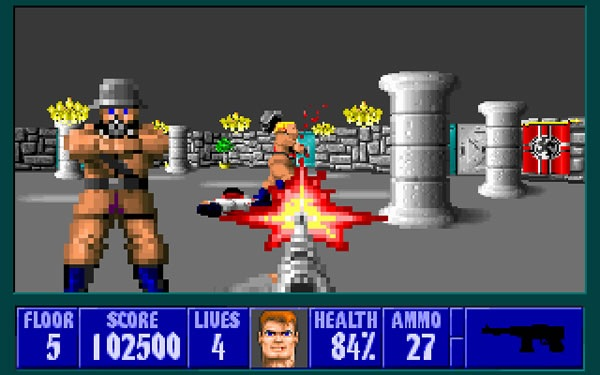 "Screenshot of German WWII soldiers getting shot from the game ""Castle Wolfenstein"""