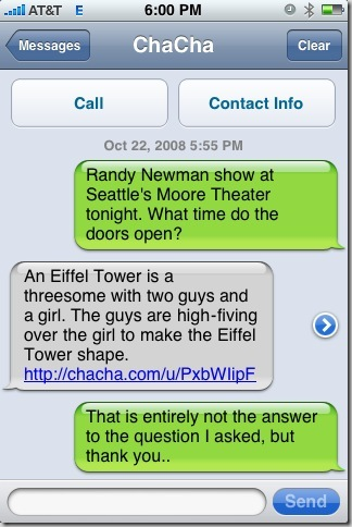 Q: Randy Newman show at Seattle's Moore Theater tonight. What time do the doors open? A: An Eiffel Tower is a threesome with two guys and a girl. The guys are high-fiving over the girl to make the Eiffel Tower shape.