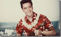 "Elvis Presley in ""Blue Hawaii"", in an aloha shirt"