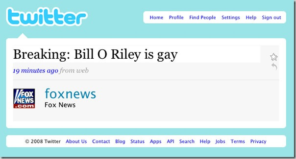 "Screenshot of FOX News Twitter account: ""Breaking: Bill O Riley is gay"""