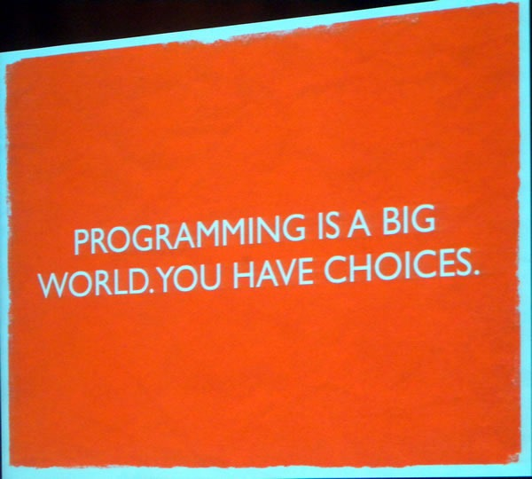 "Slide: ""Programming is a big world. You have choices."""