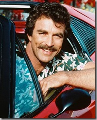 "Tom Selleck as ""Magnum, P.I."" in Robin Masters' Ferrari, in an aloha shirt"