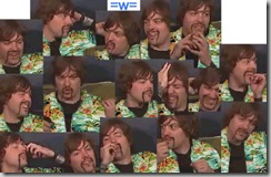 Montage ofphotos of Mikey from Weezer in an aloha shirt