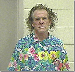 Nick Nolte's crazy-haired mugshot featuring him in an aloha shirt